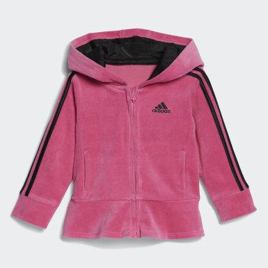 Infant & Toddler Training Pink Velour Jacket Marble Tights Set
