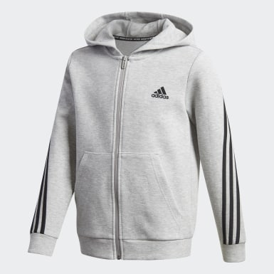 Youth 8-16 Years Training Grey 3-Stripes Doubleknit Full-Zip Hoodie