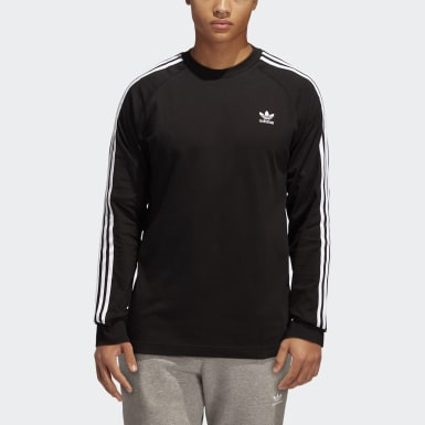 Men Originals Black 3-Stripes Long-Sleeve Top