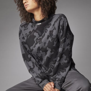 Kvinder Athletics Grå Mock Crew Allover Print sweater
