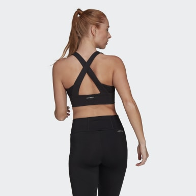 Women Training Black adidas Women Designed To Move AEROREADY Bra Top - Light Support