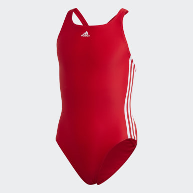 Kinder Schwimmen Athly V 3-Streifen Badeanzug Rot