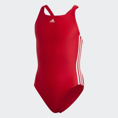 Costume da bagno Athly V 3-Stripes Rosso Ragazza Nuoto