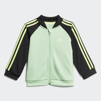 Tuta 3-Stripes Tricot Verde Bambini Athletics