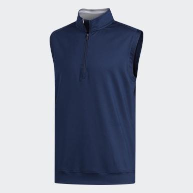 Men Golf Blue Classic Club 1/4 Zip Vest