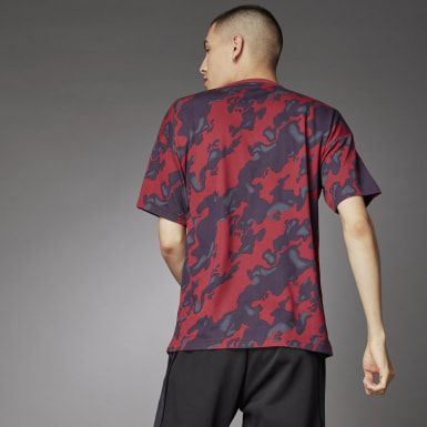 Heren Athletics Rood Allover Print T-shirt