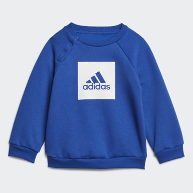 Kids Training Blue 3-Stripes Fleece Jogger Set