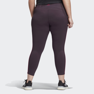 Women Training Purple Believe This 3-Stripes 7/8 Tights (Plus Size)