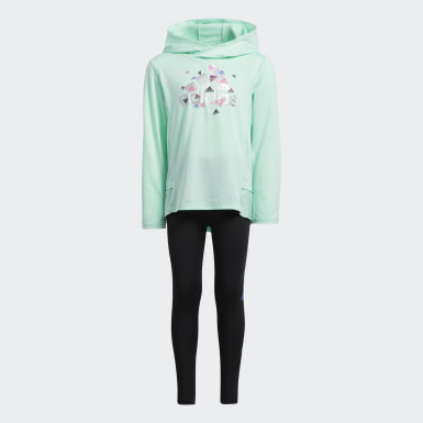 Children Training Turquoise Badge of Sport Hooded Top and Tights Set