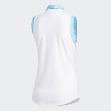 Women Golf White Ultimate365 Printed Sleeveless Polo Shirt