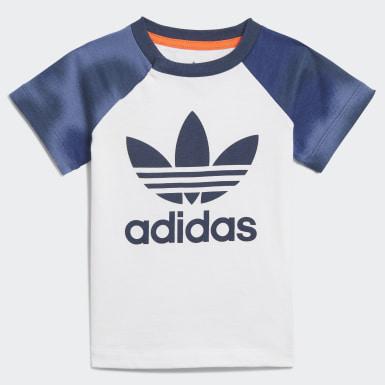 Conjunto de T-shirt e Calções Branco Rapazes Originals