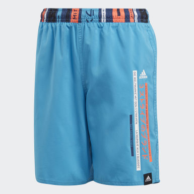 Boys Swimming Turquoise Colorblock Swim Shorts