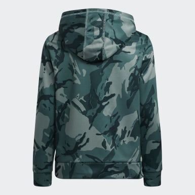 Youth Training Green Core Camo Hooded Pullover