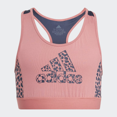Girls Athletics Pink adidas Designed To Move Leopard bh-top