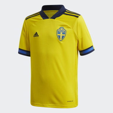 Youth 8-16 Years Football Yellow Sweden Home Jersey