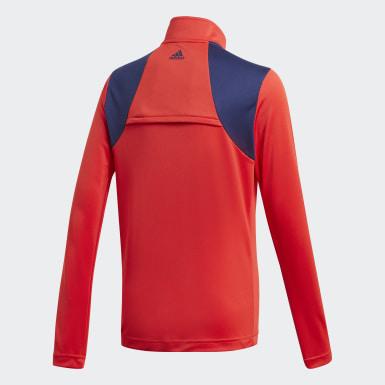 Jungen Golf 3-Streifen Half-Zip Pullover Rot