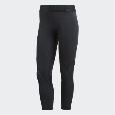 Calzas 3/4 Alphaskin Sport - Tiro Medio Negro Mujer Running