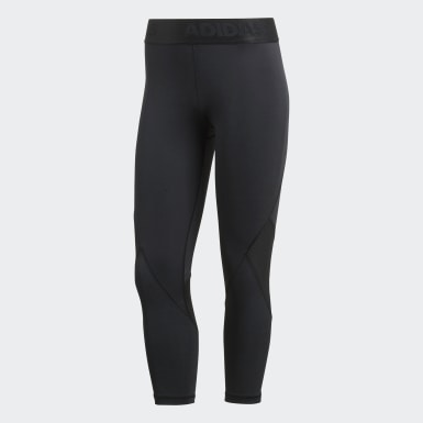 Women Outdoor Black Alphaskin Sport 3/4 Tights