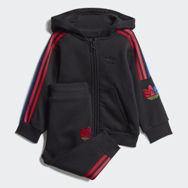 Kids Originals Black Adicolor 3D Trefoil Full-Zip Hoodie Set
