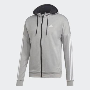 Männer Athletics 3-Streifen Hooded Trainingsanzug Grau