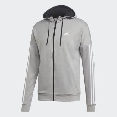 Men Athletics Grey 3-Stripes Hooded Track Suit