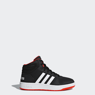 Kids Essentials Black Hoops 2.0 Mid Shoes