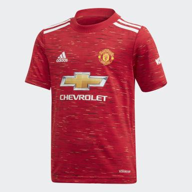 Conjunto primera equipación Manchester United 20/21 Rojo Niño Fútbol