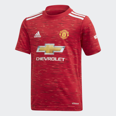 Kids 4-8 Years Football Red Manchester United 20/21 Home Youth Kit