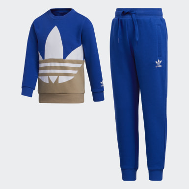 Children Originals Blue Large Trefoil Crew Set