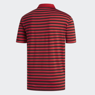 Men's Golf Red Ultimate365 3-Color Stripe Polo