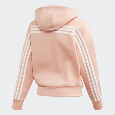 Girls Træning Pink Must Haves 3-Stripes hættetrøje