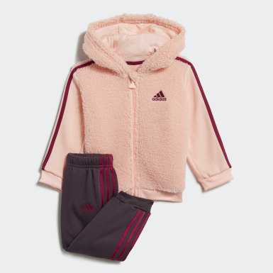 Fur Full-Zip Hooded Jogger Set Różowy