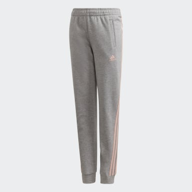 Youth 8-16 Years Training Grey 3-Stripes Tapered Leg Tracksuit Bottoms