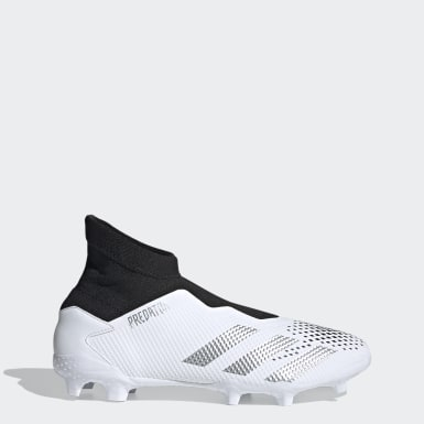 Football White Predator Mutator 20.3 Laceless Firm Ground Boots
