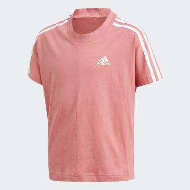 Youth 8-16 Years Training Pink 3-Stripes T-Shirt