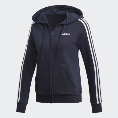 Felpa con cappuccio Essentials 3-Stripes Blu Donna Athletics
