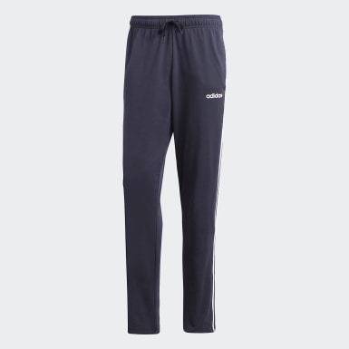 Men Essentials Blue Essentials 3-Stripes Tapered Open Hem Pants