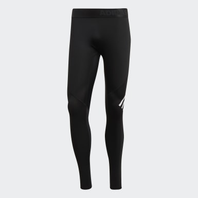 Men Yoga Black Alphaskin Sport+ Long 3-Stripes Tights