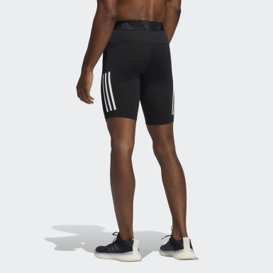 Men's Yoga Black Techfit 3-Stripes Short Tights