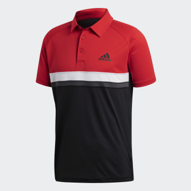 Erkek Tenis Kırmızı Blok Renkli Club Polo Tişört