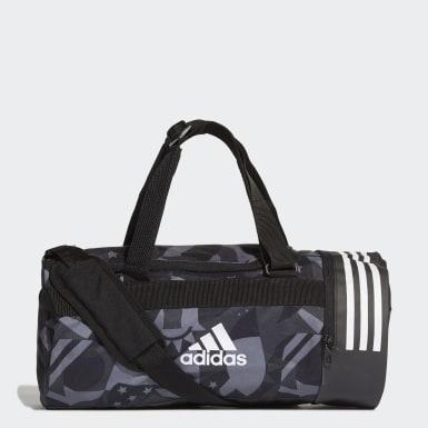 Training Black 3-Stripes Convertible Graphic Duffel Bag Small