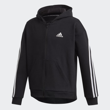Barn Träning Svart 3-Stripes Full-Zip Hoodie