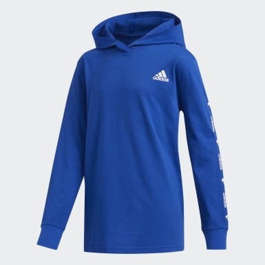 Children Training Blue Badge of Sport Hooded Tee