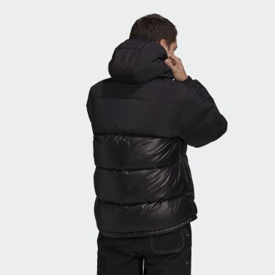 Männer Originals Down Regen Hooded Blocked Puffer Jacke Schwarz