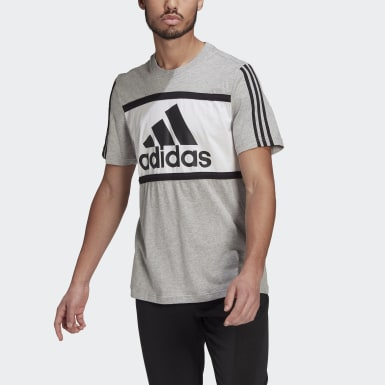 Men Athletics Grey Essentials Logo Colorblock T-Shirt