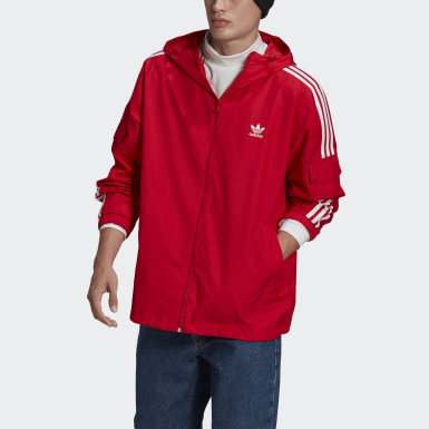 Herr Originals Röd Adicolor Classics 3-Stripes Full-Zip Windbreaker
