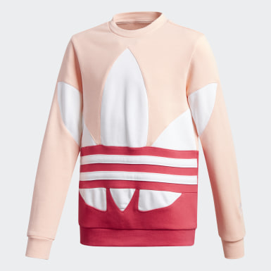 Kids Originals Pink Large Trefoil Crew Sweatshirt