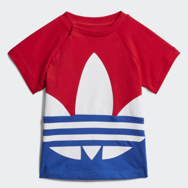 Kids Originals Red Large Trefoil Tee