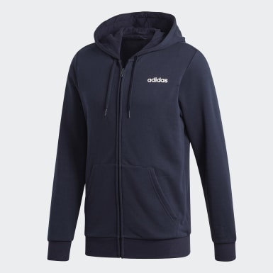 Heren Training Blauw Essentials Linear French Terry Hoodie