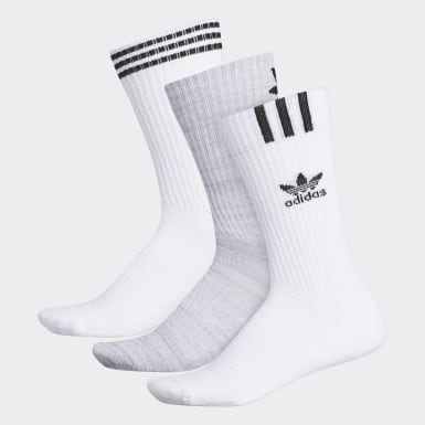 Men's Originals White Graphic Logo Crew Socks 3 Pairs